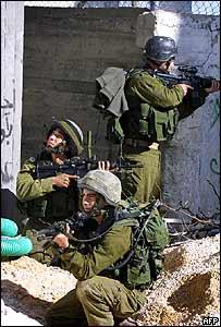 Israeli troops in the Nablus area