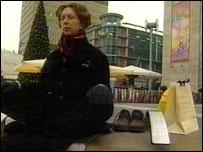 A shopper meditating