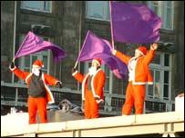 Three of the Santa protesters