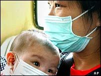 Mother and baby in Sars masks