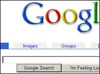 Screengrab of Google homepage, Google