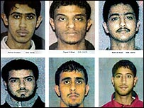 Al-Qaeda sleeper cell members from Lackawanna, New York (top left to right): Mukthtar Ali Albakri, Faysal H. Galab, Sahim A. Alwan, (bottom left to right) Yahya Goba, Shafal Mosed, and Yasein A Taher