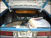 Modified boot of car used in killings