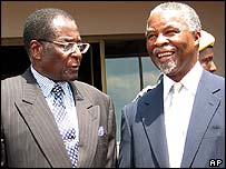 Robert Mugabe (left) and Thabo Mbeki