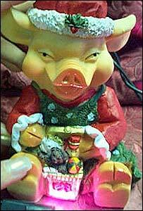 Plastic Santa pig gift