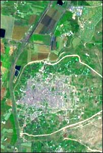Satellite image of the West Bank