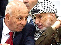 Palestinian leader Yasser Arafat (r) speaks to Palestinian Prime Minister Ahmed Qureia (l)