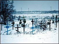 Roadside cemetery to commemorate some of the gulag prisoners who died in Vorkuta