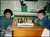 Nenets children playing chess