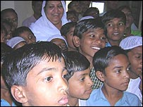 Rehana Undel Begum and boys at the school