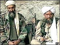 Osama Bin Laden (l) and Ayman al-Zawahri on previous videotape