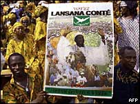 Lansana Conte supporters and poster