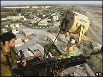 Israeli soldier keeps watch over the Netzarim settlement in the Gaza Strip