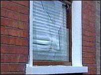 A window broken in the attacks
