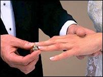 Hombre colocando la alianza en el dedo de una mujer