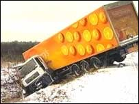 Jackknifed lorry in Norfolk