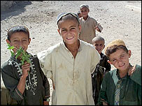 Boys from village near the Sigha canal project