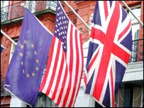 European, US and UK flags
