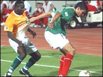Antoin Koutouan in action for Ivory Coast
