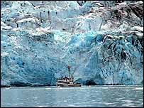 Vessel and glacier   NOAA