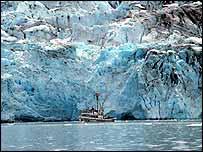 Vessel and glacier   NOAA