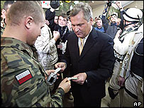 Polish President Aleksander Kwasniewski at Camp Babylon