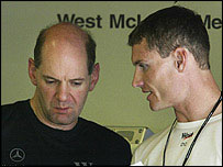 McLaren technical director Adrian Newey chats to race driver David Coulthard