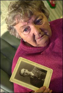 Margaret Harris with a picture of her uncle