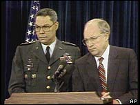 Colin Powell and Dick Cheney brief the media during the first Gulf War