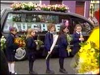 Emma's schoolfriends led the mourners at her funeral