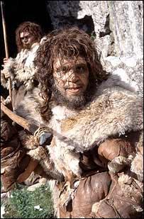 Recreación artística de Neandertales.