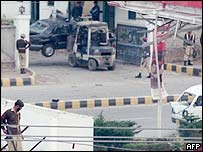 Scene of attempted suicide bomb attack against President Musharraf in 2003