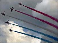 Red Arrows flying at an air show