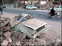 Car wrecked by earthquake