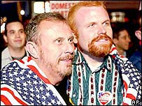 Mike Holland (left) and Jim Gatteau of San Francisco at a same-sex marriage rally
