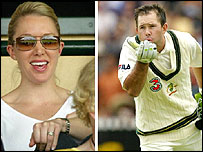 Ponting blows a kiss to wife Rianna after scoring a century in Adelaide