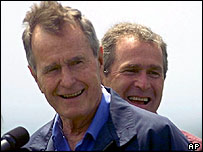 George Bush Senior (l) with George W Bush (r)