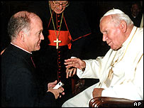 Undated photo of Monsignor Michael Courtney and Pope John Paul ll