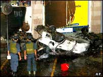 Aftermath of a car bomb at the US embassy in Lima in 2002