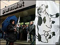 Dairy farmers protest outside a Parmalat office