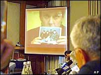 Mr Litvinenko provides information about the blast to Russian officials via a video link in 2002