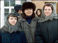 Bridget Kendall (centre) with teenage prisoners in Tomsk