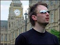 Radiohead singer Thom Yorke outside parliament
