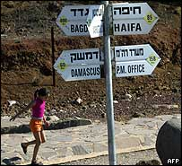 Hebrew and English signpost in Bental army base, Golan Heights