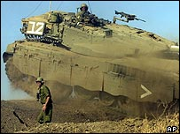 Israeli tank in manoeuvres on the Golan Heights