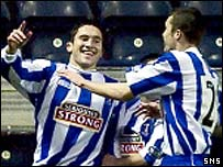 Peter Canero celebrates for Kilmarnock