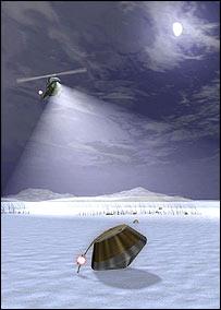 Interpretación artística de la recuperación de Stardust, NASA