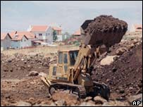 Bulldozer clears land on the Golan Heights