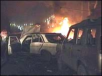 Burning wreckage at the scene of the explosion