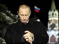 Vladimir Putin prepares to make his New Year's speech at the Kremlin